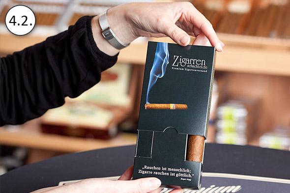 ZigarrenSchachtel.de Qualitätsgarantie: Verschließen der Schiebeschachtel