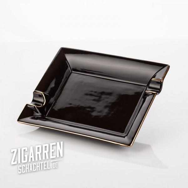 Zigarrenaschenbecher Porzellan schwarz/Goldrand
